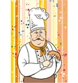 Chef and sausage on the fork vector image