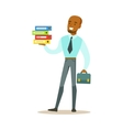 Man With Suitcase Holding Pile Of Folders Part Of vector image