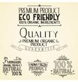 Premium quality organic health food headings vector image