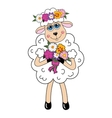 Sheep in a wreath and flowers character vector image