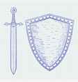 shield with sword blue hand drawn sketch on vector image