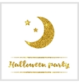 Halloween gold textured moon icon vector image