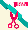 Grand Opening Retro Flat Design with Scissor vector image vector image