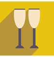 flat icon with long shadow glasses of champagne vector image