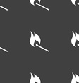 burning match icon sign Seamless pattern on a gray vector image