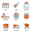 Set of shopping and retail outline icons vector image