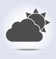 sun and cloud gray weather icon vector image