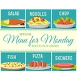 Various food dishes menu concept design vector image
