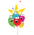 Happy Birthday Baloons With Stars vector image vector image