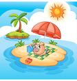 Cartoon pig sunbathing vector image