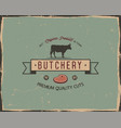 Butchery shop typography poster template in retro vector image
