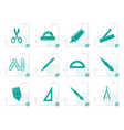 stylized school and office tools icons vector image vector image