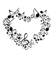 music from heart sketch cartoon vector image