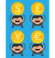 Business Men Holding Currency Gold Coins vector image vector image