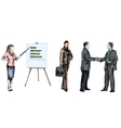 Business people sketch colored vector image
