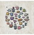 Frame with ornate mugs on grunge background vector image vector image