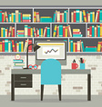 Modern Flat Design Workplace With Bookcase vector image
