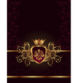 golden ornate frame with crown vector image