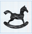 Horse toy icon with pen effect on paper vector image