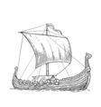 Drakkar floating on the sea waves vector image