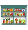 shelves with Fresh produce and herb planted in vector image vector image