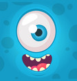 funny monster one eye face vector image
