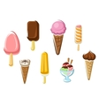 Ice cream isolated dessert icons vector image