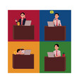 young businessman sitting at office desk working vector image