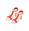 Pair of high heel red female shoes icon vector image