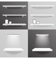 White shelf hanging on a wall with light photo vector image