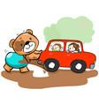 cute bear help car stuck on mud vector image