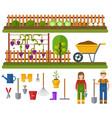 gardening set rural landscape with garden vector image