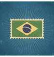 Retro Brazil Flag Postage Stamp vector image vector image