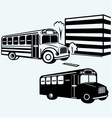 School bus driving along street vector image vector image