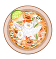 Plate of Green Papaya Salad with Cooked Squids vector image