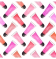 Seamless watercolor pattern with beauty items on vector image