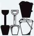 Bucket and spade with sand vector image vector image