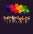 dancing people festive colorful poster vector image