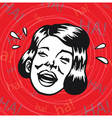 Vintage Clipart woman having fun and laughing vector image vector image