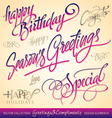 Greetings lettering set vector image