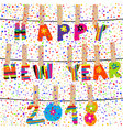 happy new year 2018 word hanging in clothes pegs vector image