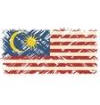 Malaysian grunge flag vector image