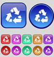 Recycle icon sign A set of twelve vintage buttons vector image