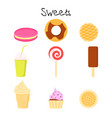 collection of lovely baby sweet and dessert vector image