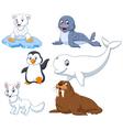Arctics animals collection set vector image