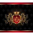 Golden ornate frame with crown - vector image