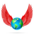Globe with red wings on white vector image vector image