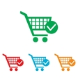 Shopping Cart and Check Mark Icon vector image