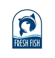 Fresh fish retro blue label vector image