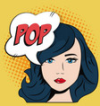 comic blue hair girl bubble speech pop art vector image